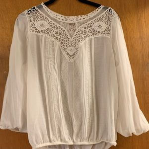 Long Sleeve White Blouse with Lace and Bubble Hem